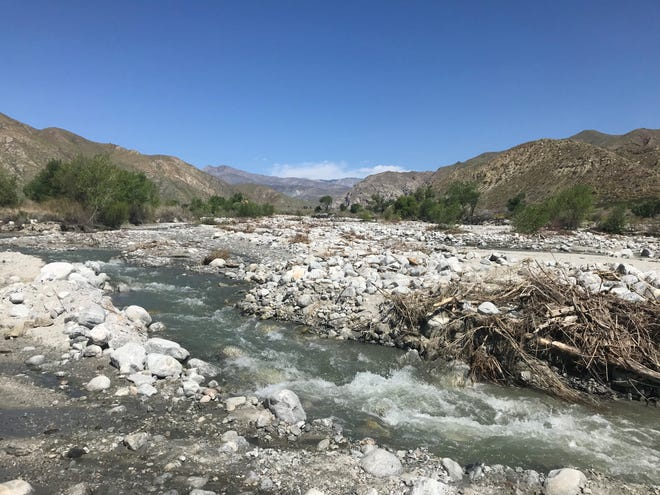 The Whitewater River runs up against Whitewater Canyon Road on April 4 at Whitewater Preserve.