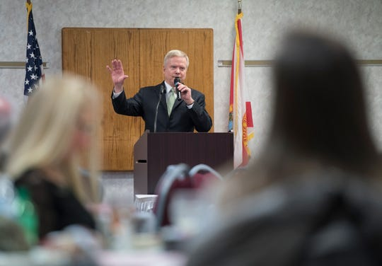 Jim Webb, a former Secretary of the Navy and U.S. senator for Virginia, speaks on behalf of Explore Offshore during a luncheon at the Pensacola Bay Center on Thursday.