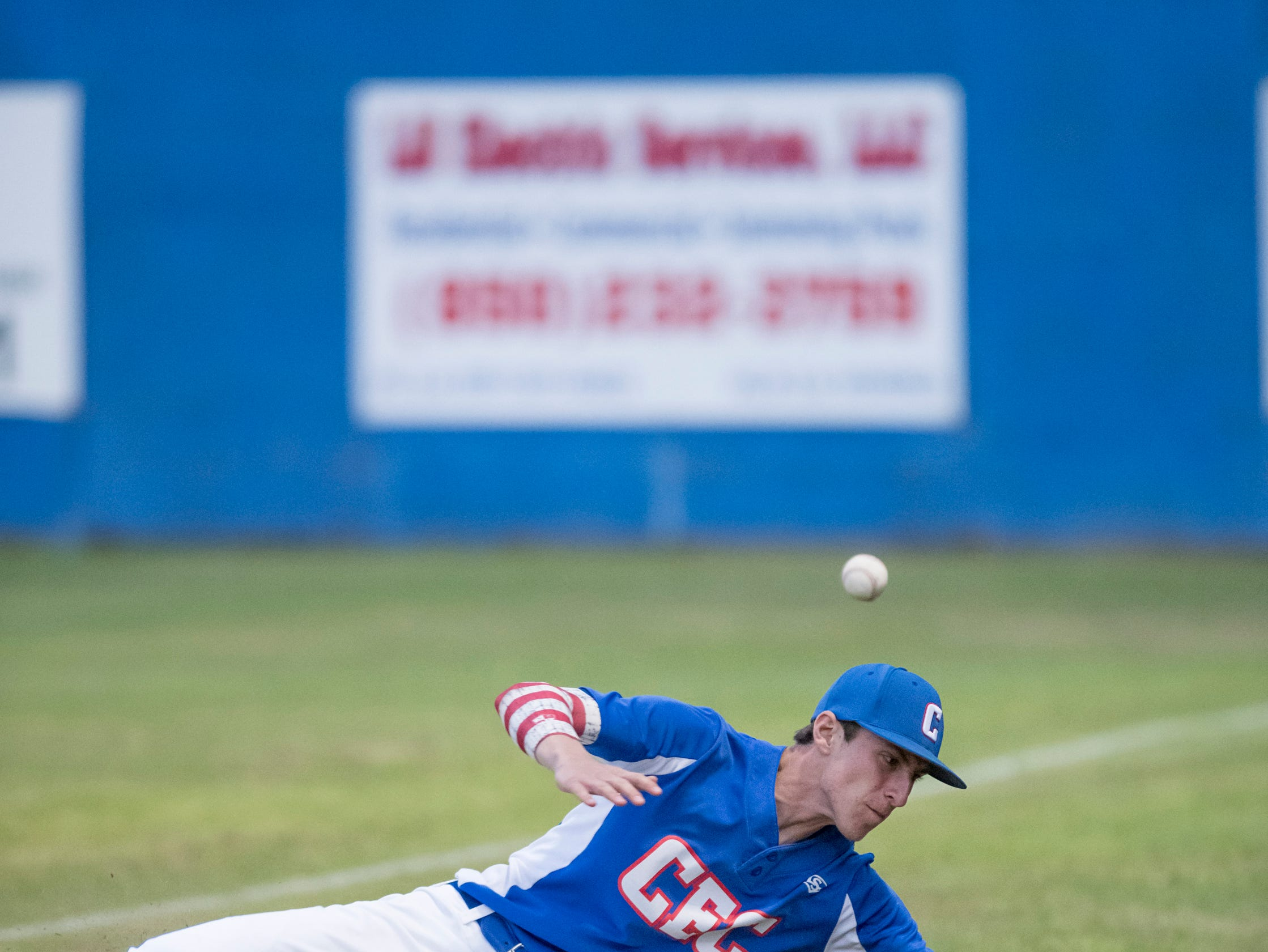 Timmy Williams (20) stays alive after the right fielder can't glove a foul ball pop up during the Christian Educational Consortium vs Pine Forest baseball game at Pine Forest High School in Pensacola on Wednesday, April 3, 2019.