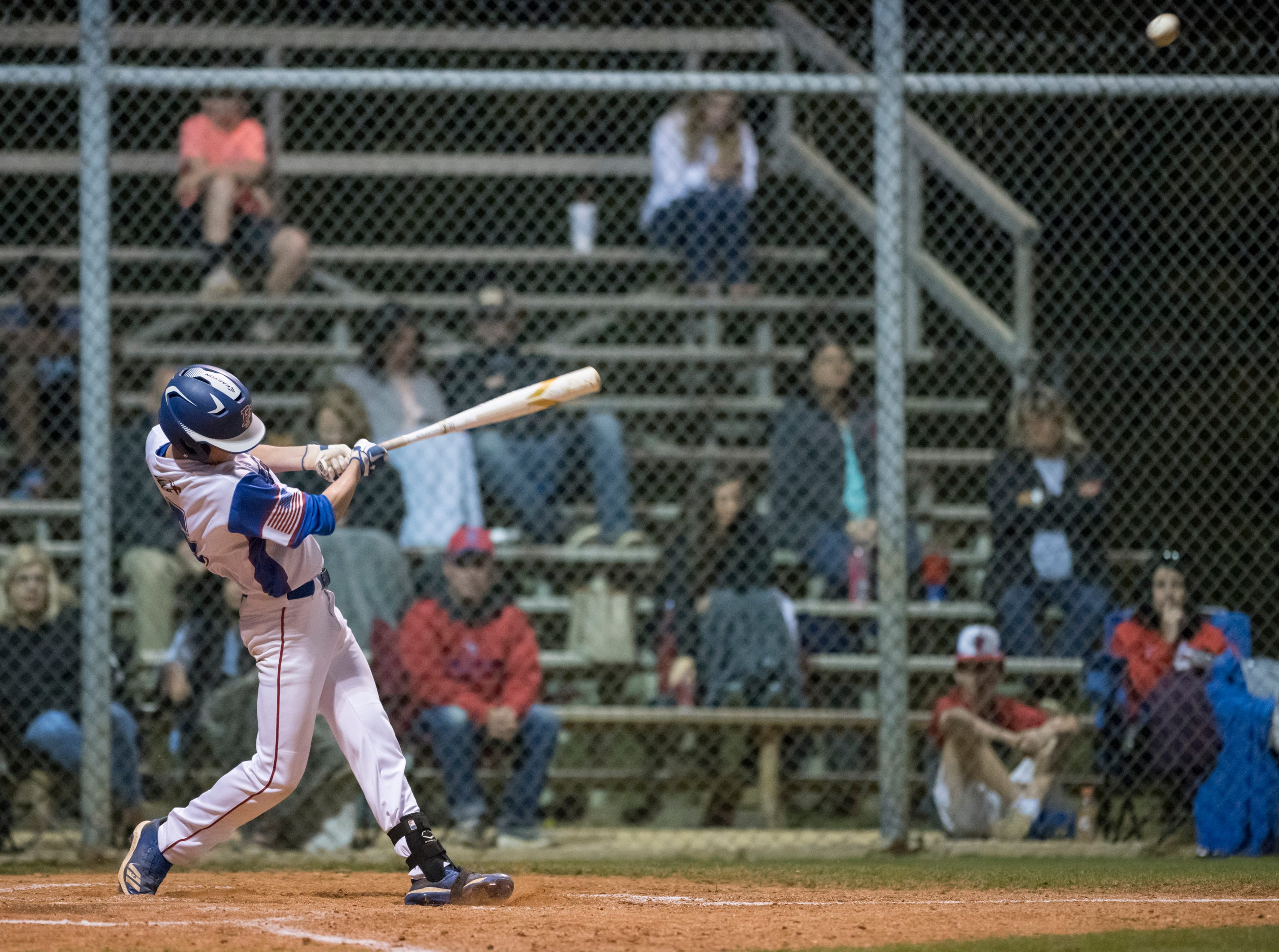 Chase Gullatt (5) makes contact during the Christian Educational Consortium vs Pine Forest baseball game at Pine Forest High School in Pensacola on Wednesday, April 3, 2019.