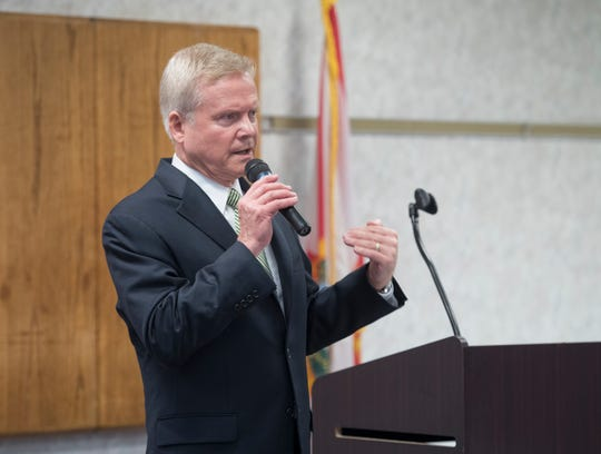Jim Webb, a former Secretary of the Navy and U.S. senator for Virginia, speaks on behalf of Explore Offshore during a luncheon at the Pensacola Bay Center on Thursday