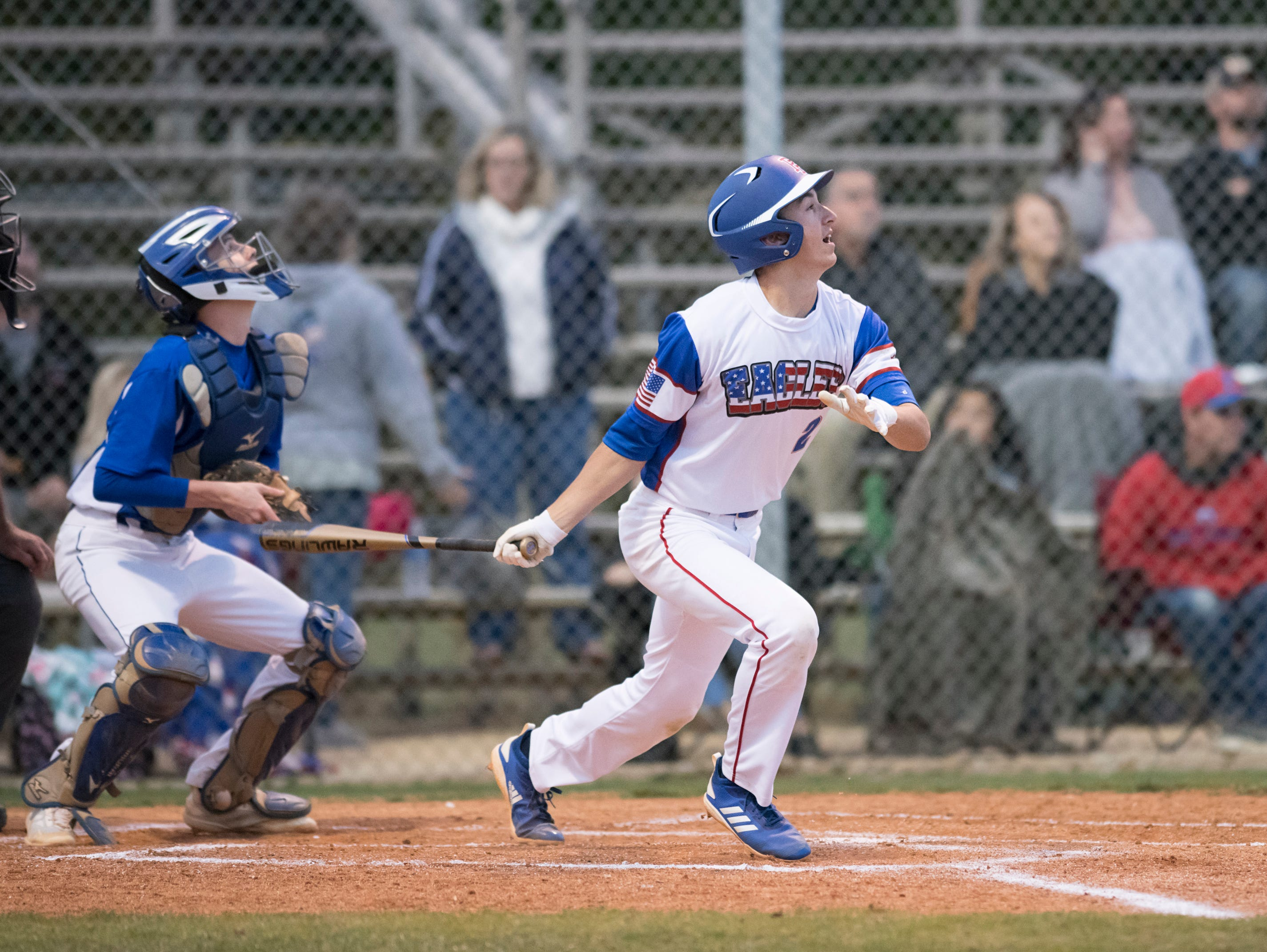 John Pinette (2) follows the ball after making contact during the Christian Educational Consortium vs Pine Forest baseball game at Pine Forest High School in Pensacola on Wednesday, April 3, 2019.