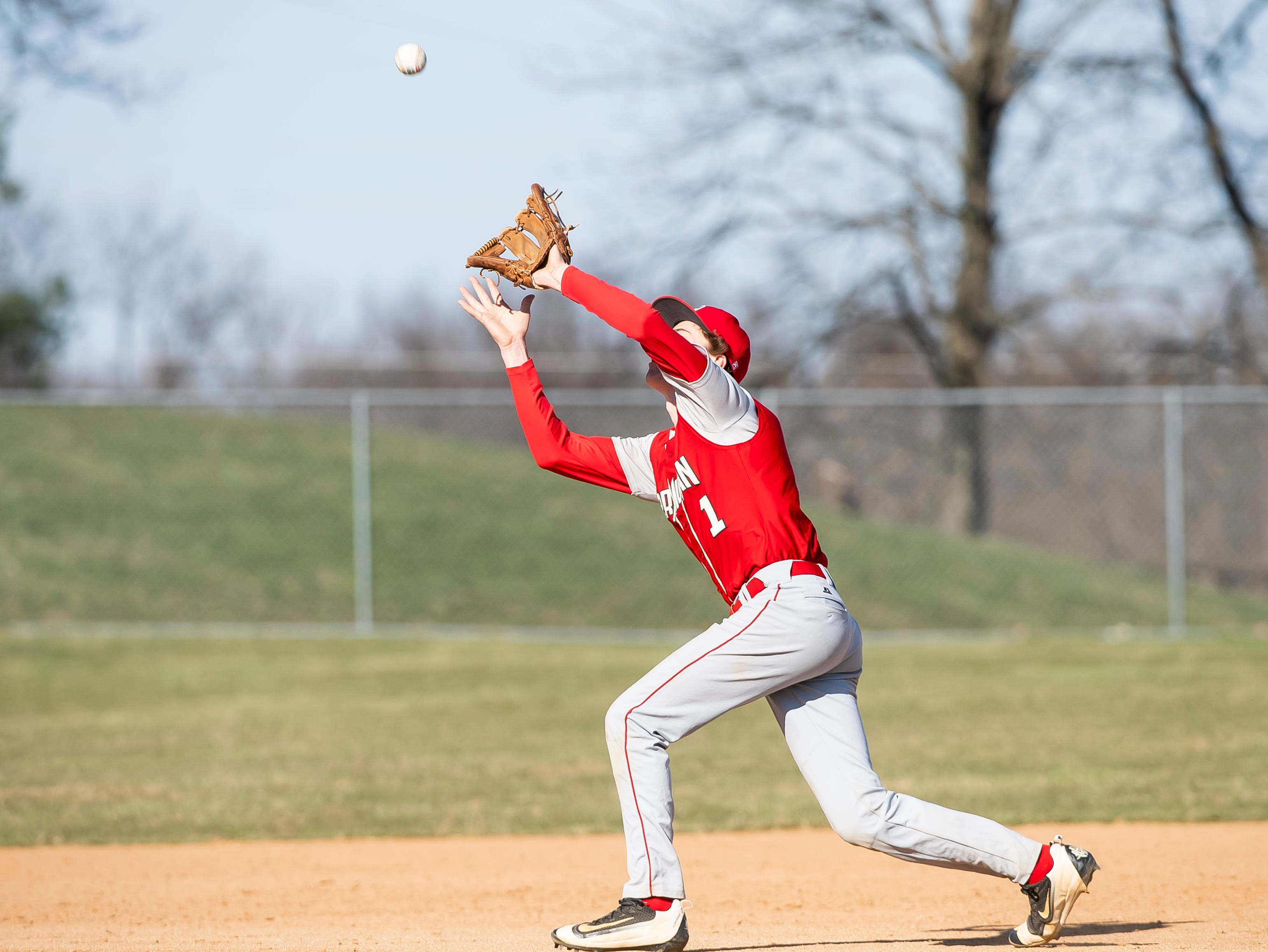 Bermudian Springs' Tucker Byers catches an infield fly during a YAIAA baseball game against West York on Wednesday, April 3, 2019. The Eagles fell 14-11.