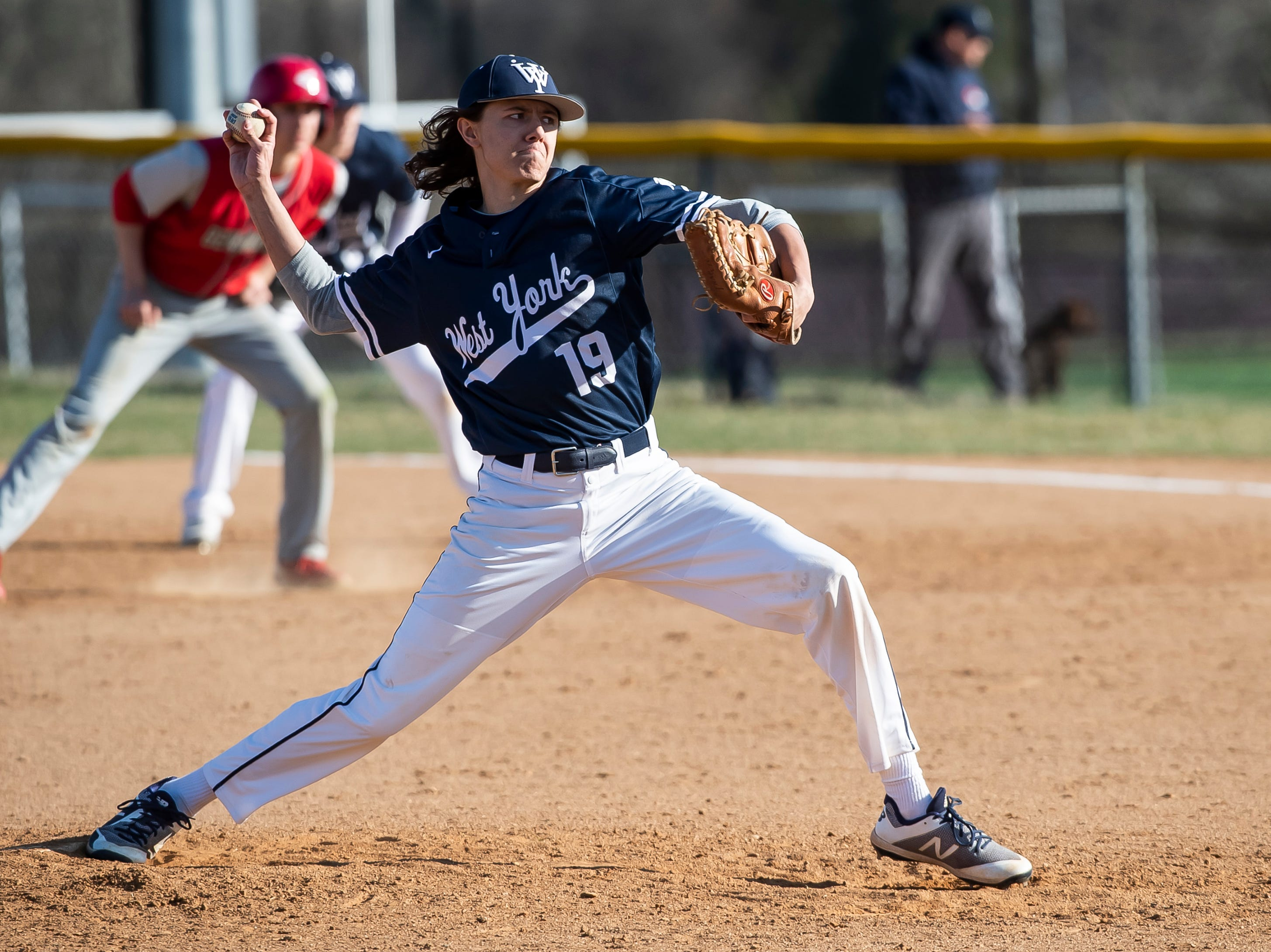 West York relief pitcher Christian Fletcher throws to Bermudian Springs during a YAIAA baseball game on Wednesday, April 3, 2019. The Bulldogs won 14-11.