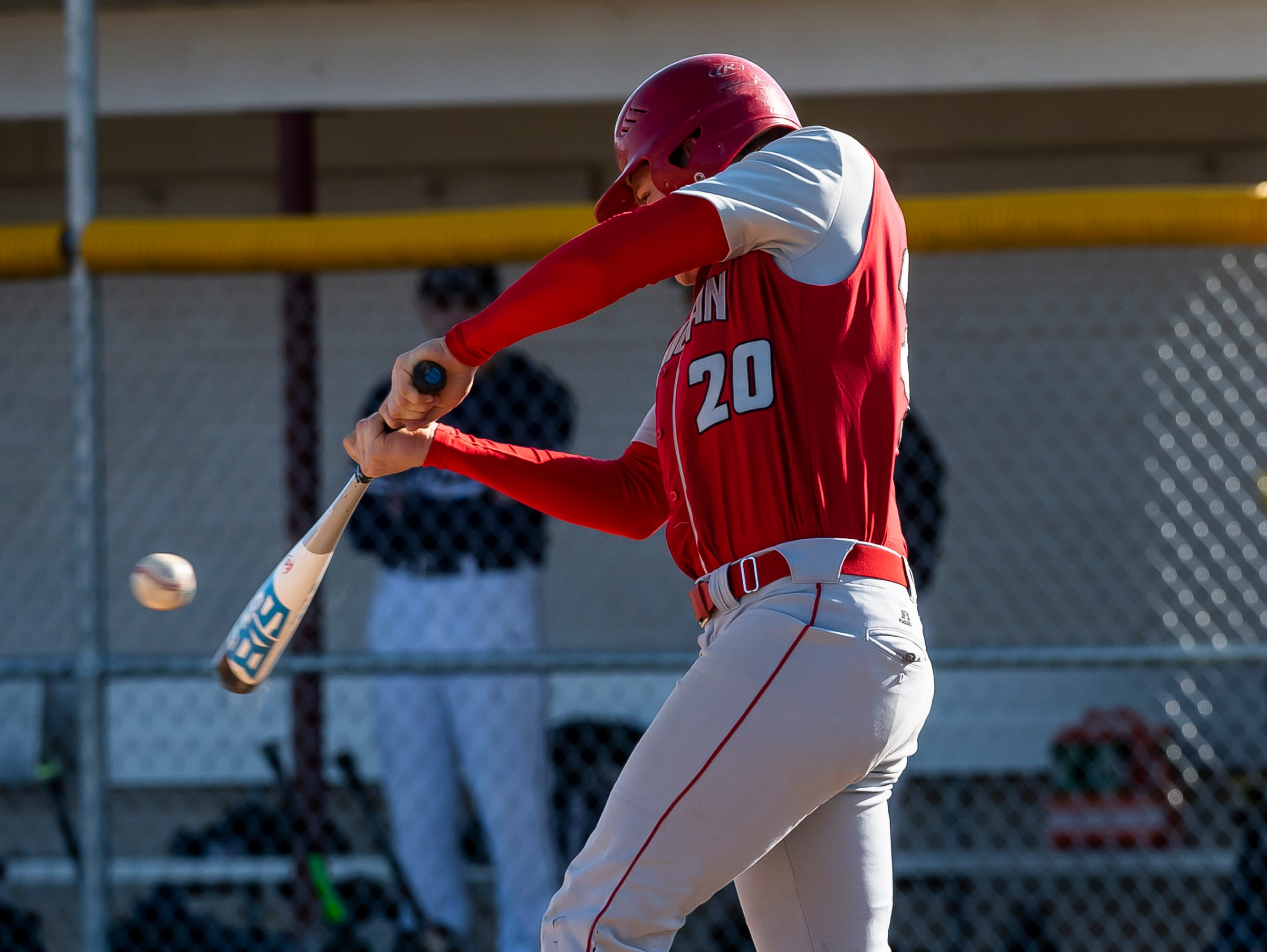 Bermudian Springs' Tyler Reinert makes contact with the ball to get on base during a YAIAA baseball game against West York on Wednesday, April 3, 2019. The Eagles fell 14-11.