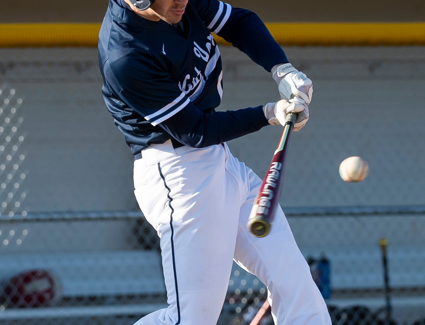 West York's Jeff Minot swings at a pitch during a YAIAA baseball game against Bermudian Springs on Wednesday, April 3, 2019. The Bulldogs won 14-11.