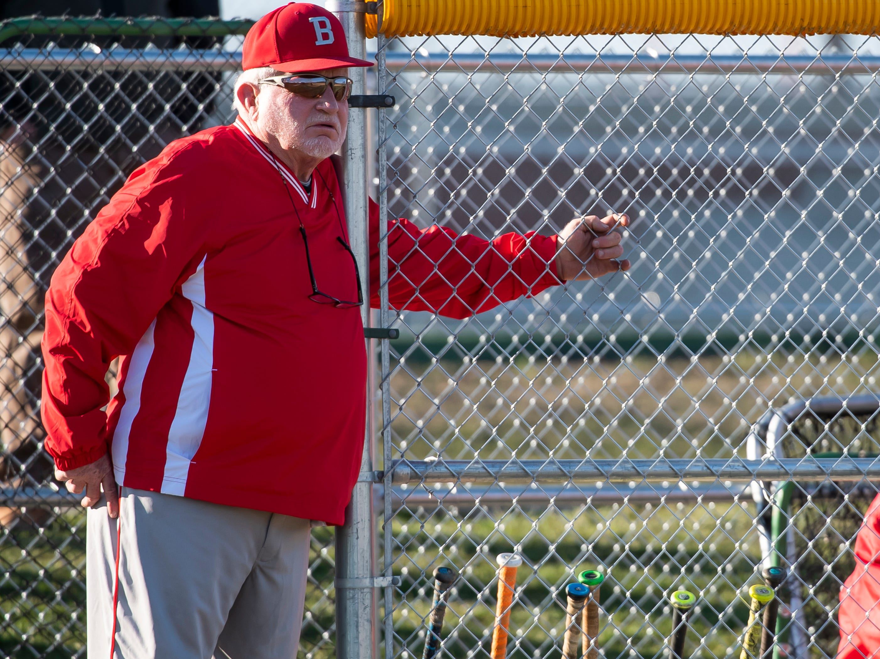 Bermudian Springs baseball head coach Bruce Reinert watches during a YAIAA baseball game against West York on Wednesday, April 3, 2019. The Eagles fell 14-11.