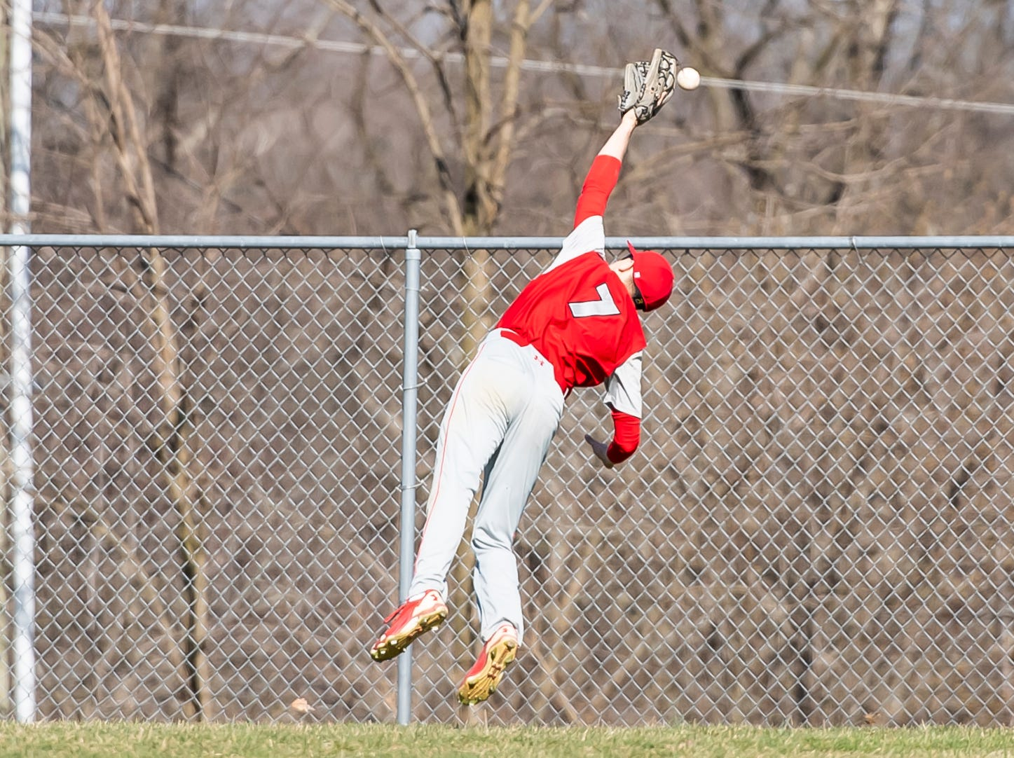 Bermudian Springs outfielder Tyler Sims comes up short on catching a fly ball during a YAIAA baseball game against West York on Wednesday, April 3, 2019. The Eagles fell 14-11.