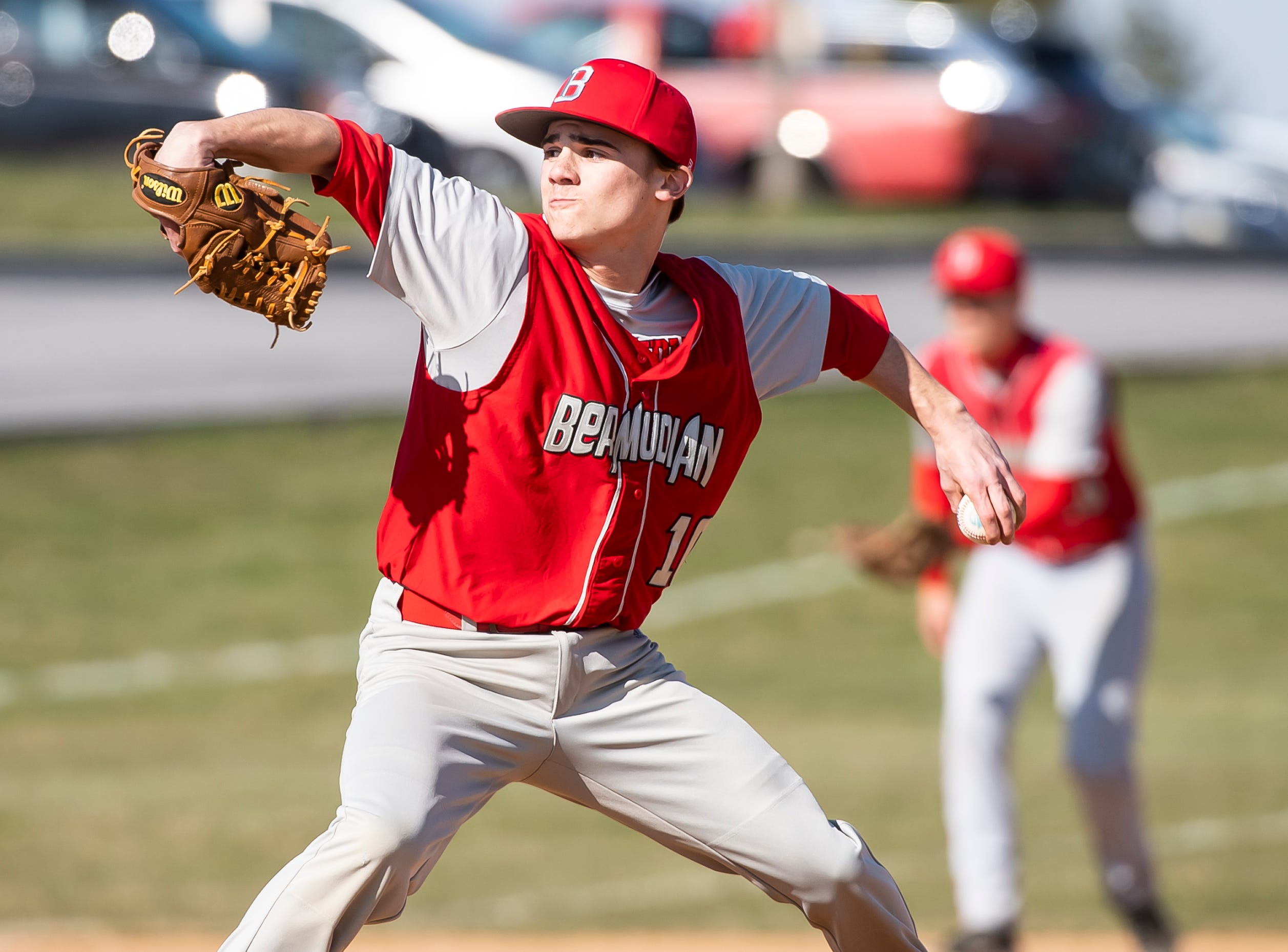 Bermudian Springs starting pitcher Aden Juelich pitches to West York during a YAIAA baseball game in York Springs on Wednesday, April 3, 2019. The Eagles fell 14-11.