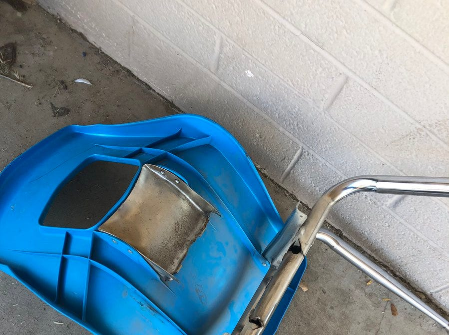 "A broken chair in the Washington Elementary School District. Brittani Karbginsky tweeted, ""I have gone through ten student chairs in two months because they keep breaking."""