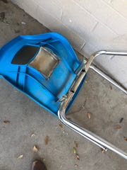 """A broken chair in the Washington Elementary School District. Brittani Karbginsky tweeted, """"I have gone through ten student chairs in two months because they keep breaking."""""""