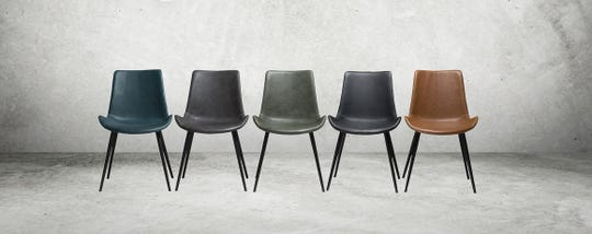 The Hype chair by DanForm of Denmark comes in a variety of colors, ranging from cognac to grey to black.