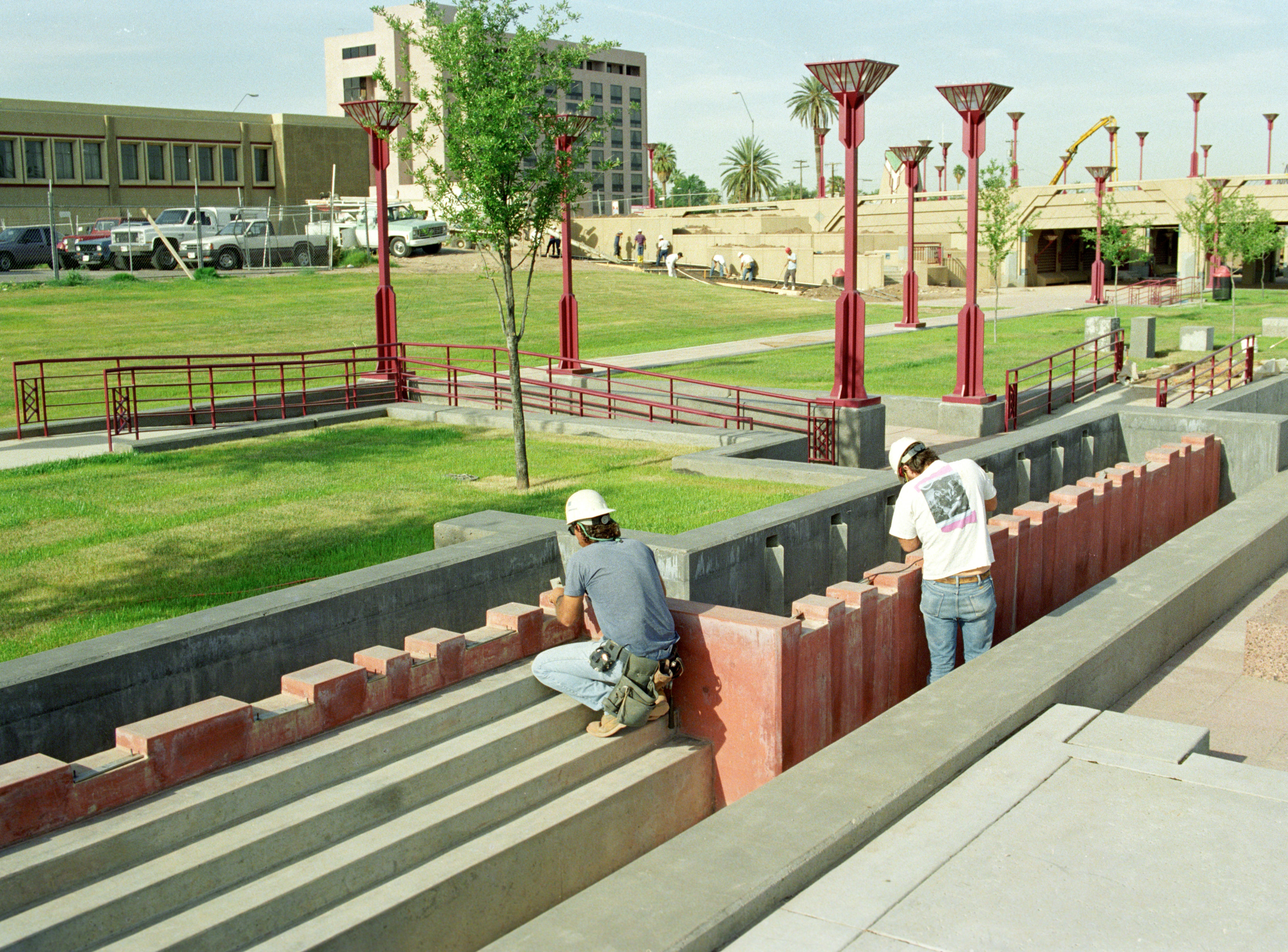 In this photo from 1992, workers prepare for the opening of Margaret T. Hance Park near Central Avenue and McDowell Road.