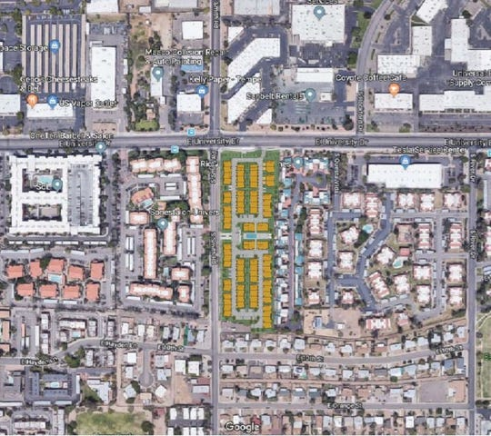 The new housing development replaces a mobile home park on Smith Road and University Drive in Tempe.