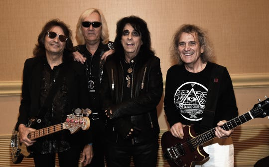 Rock & Roll Hall of Fame singer/songwriter Alice Cooper (3rd from left) with original band members Dennis Dunaway, Neal Smith and Michael Bruce backstage during Music Biz 2017 - Industry Jam 2 at the Renaissance Hotel on May 15, 2017, in Nashville, Tenn.