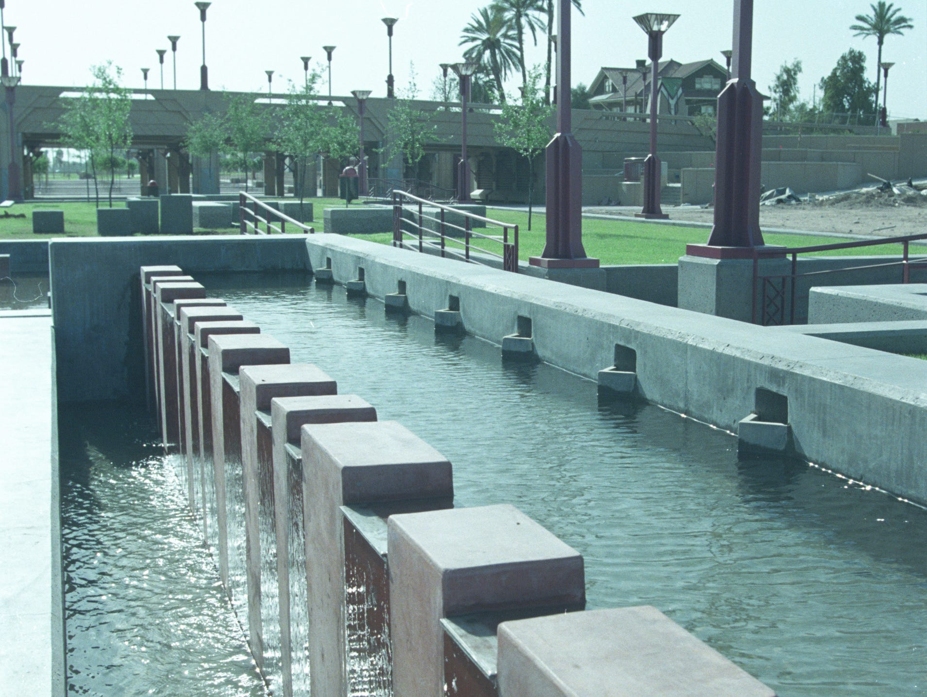 A water feature in spring 1992 of Margaret T. Hance Park in central Phoenix.