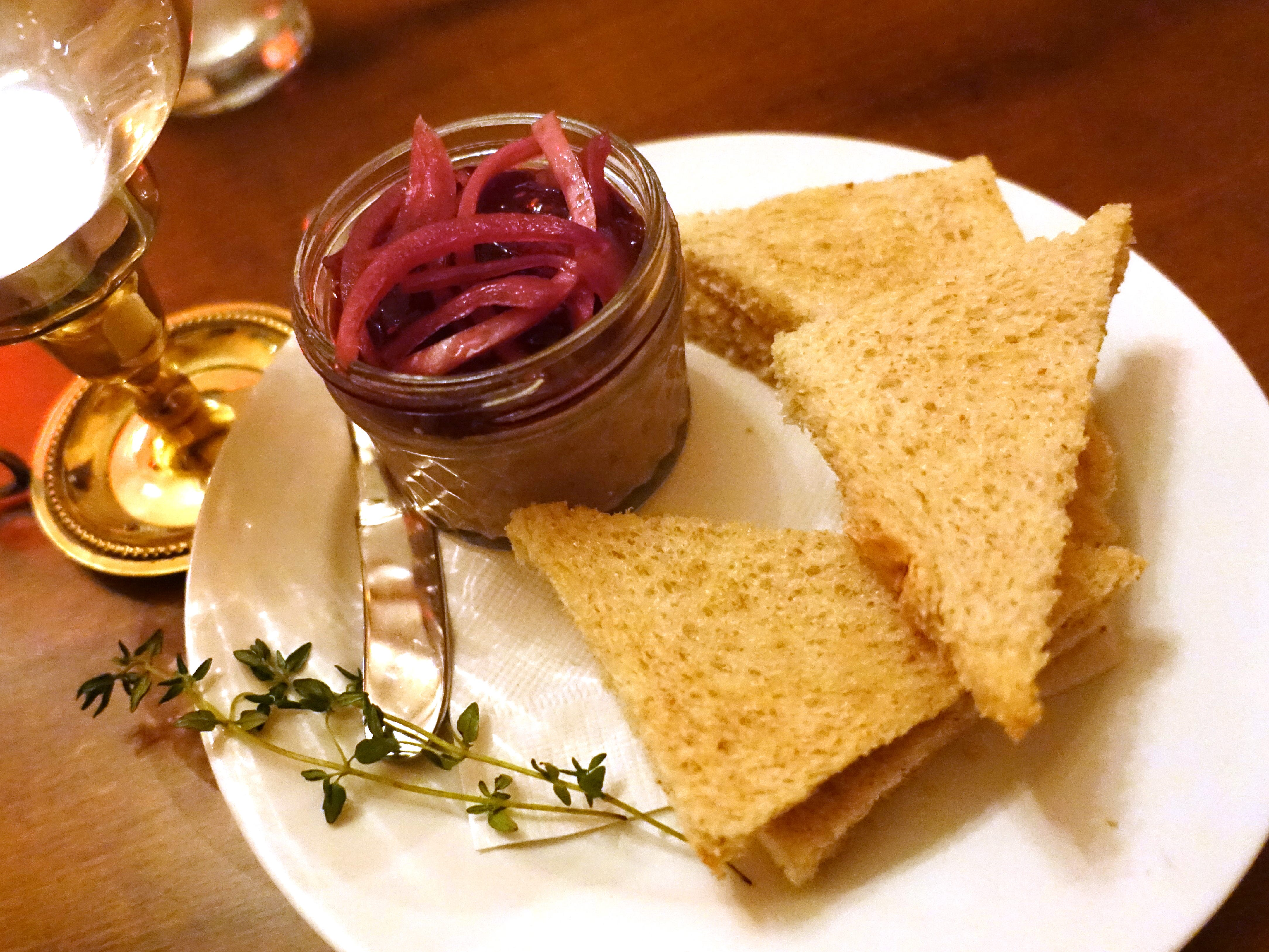 Brandied chicken paté with raspberry jam, pickled onion and toast points at The Farish House in Phoenix.