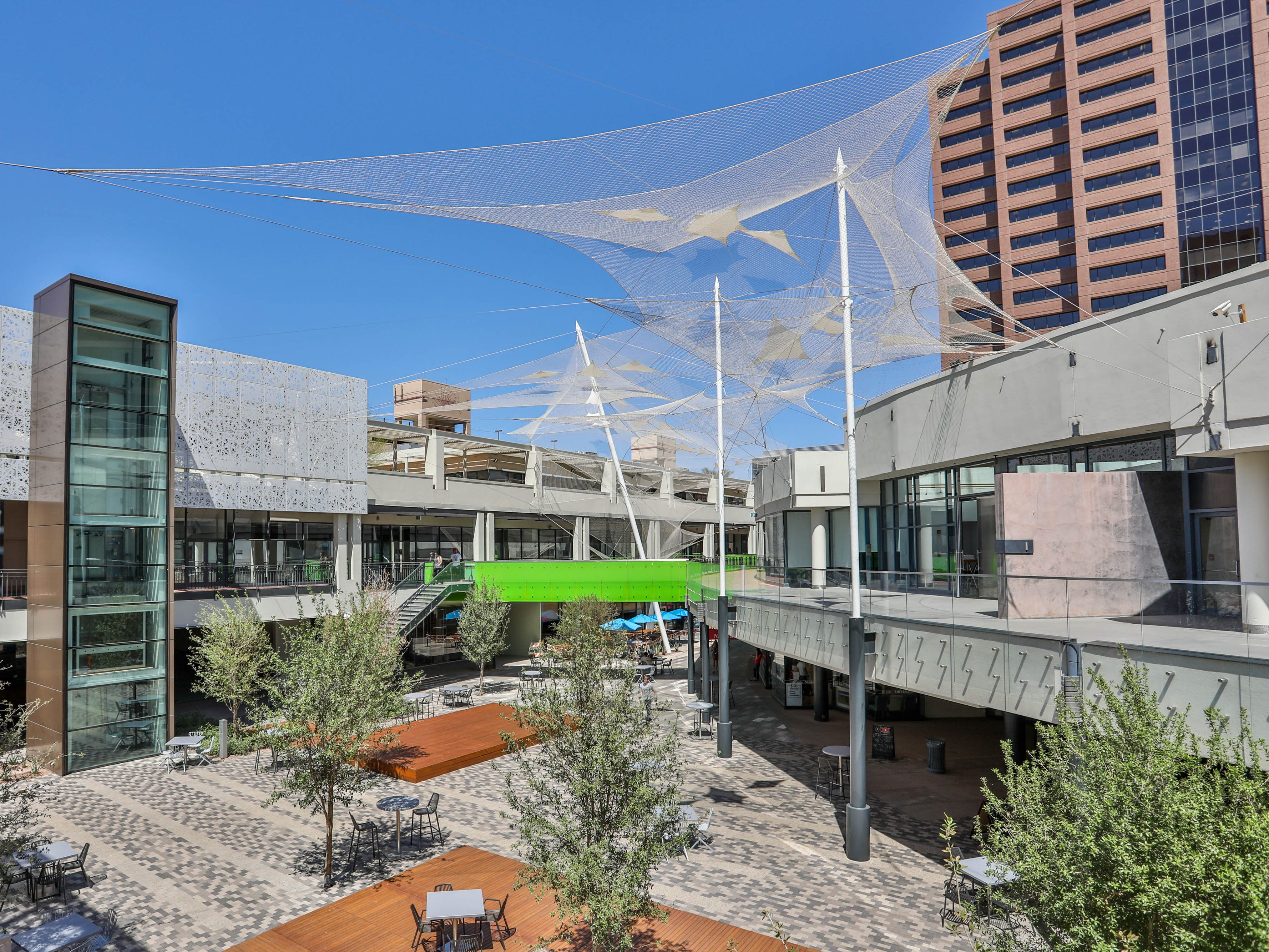 The courtyard of the Arizona Center was brightened up and new outdoor furnishings, lounge areas and shade structures were added.