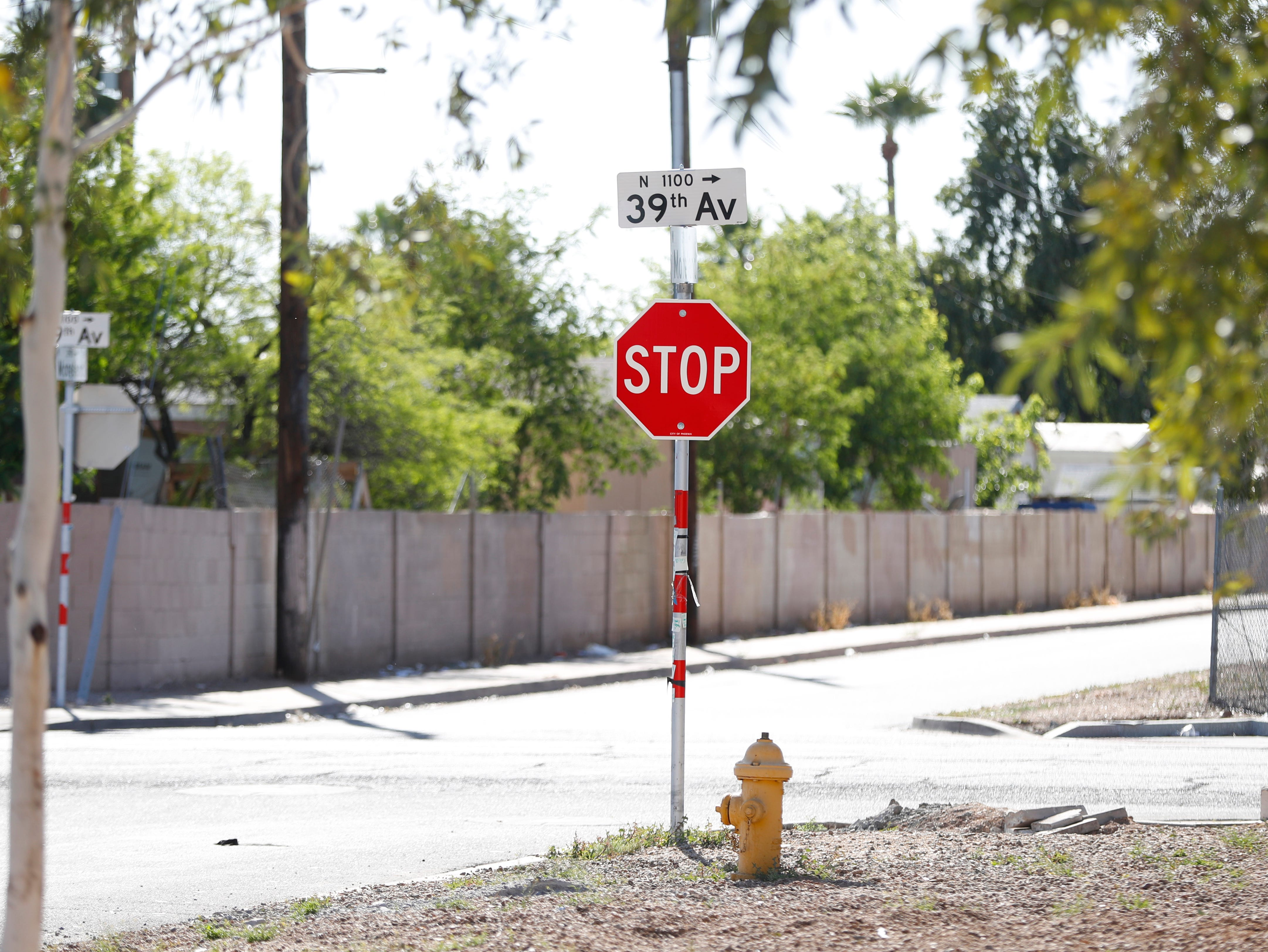 The street where a 10-year-old girl was shot and killed after an unexpected incident possibly involving road rage in Phoenix, Ariz., on April 3, 2019.