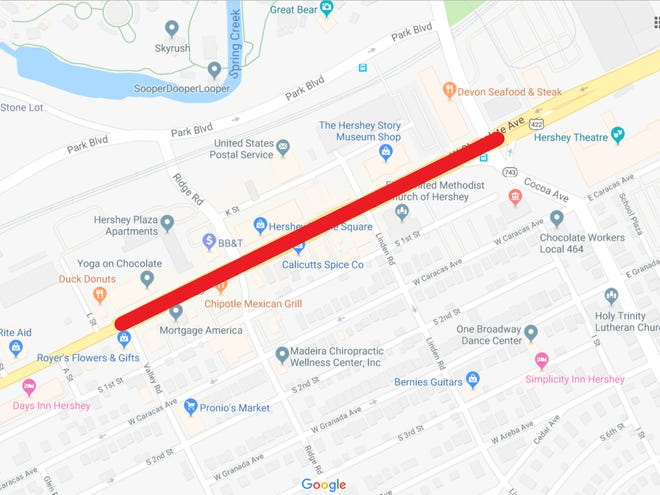 A stretch of Chocolate Avenue from Cocoa Avenue to Valley Road is shut down in Hershey on Thursday due to a gas leak. Electricity was shut off, affecting area residents and businesses.