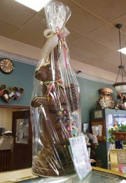 A giant chocolate bunny that is being raffled off as part of Caffe Aurora's Easter treats in the City of Poughkeepsie on April 4, 2019.