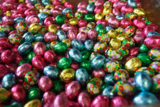 Foil wrapped chocolate eggs from Caffe Aurora's Easter treats in the City of Poughkeepsie on April 4, 2019.