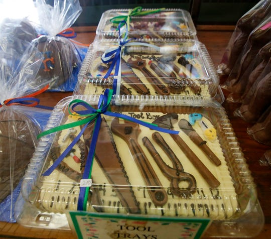 Chocolate tool trays for sale as part of Caffe Aurora's Easter chocolates in the City of Poughkeepsie on April 4, 2019.