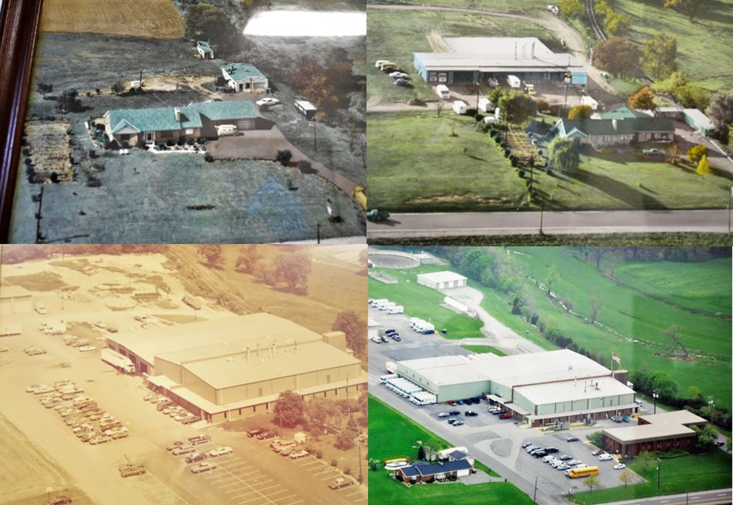 Four aerial photos showing the Gibble's property over the years hang on the walls in the plant at 6647 Molly Pitcher Highway, Chambersburg. The office building, which Gibble's has not used in years, is built on the same spot that the house stood on. In fact, the front wall of the house still stands within the front wall of the office building.