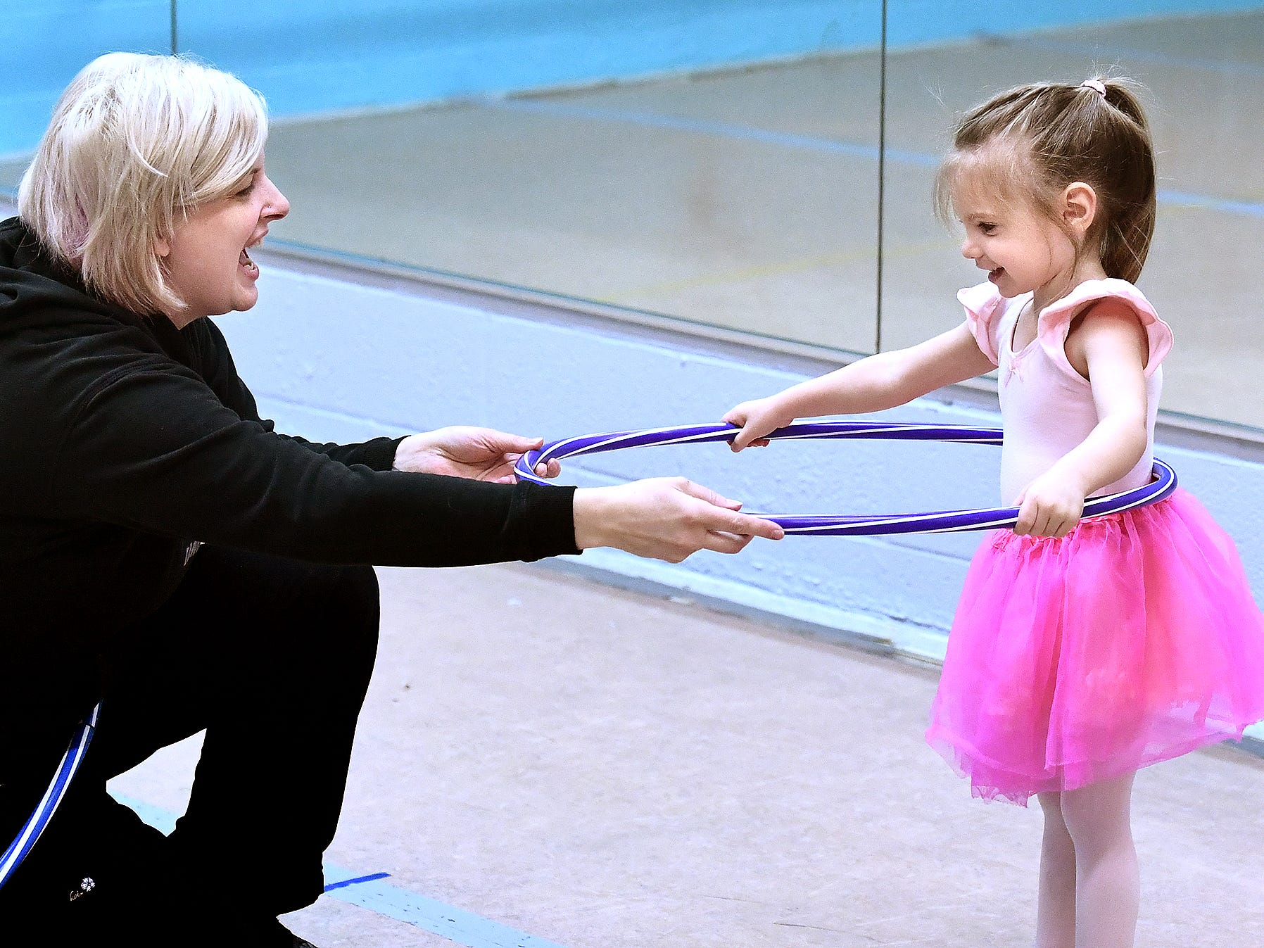 Instructor Niki Zengerly works with Aundrea Baughman, 3, of Dallastown, during the Twinkle Babies class at Greater York Dance Thursday, April 4, 2019. The four-week program, for children aged 2 to 4, is part of the Twinkle Star Dance Program for early childhood dancers. Bill Kalina photo