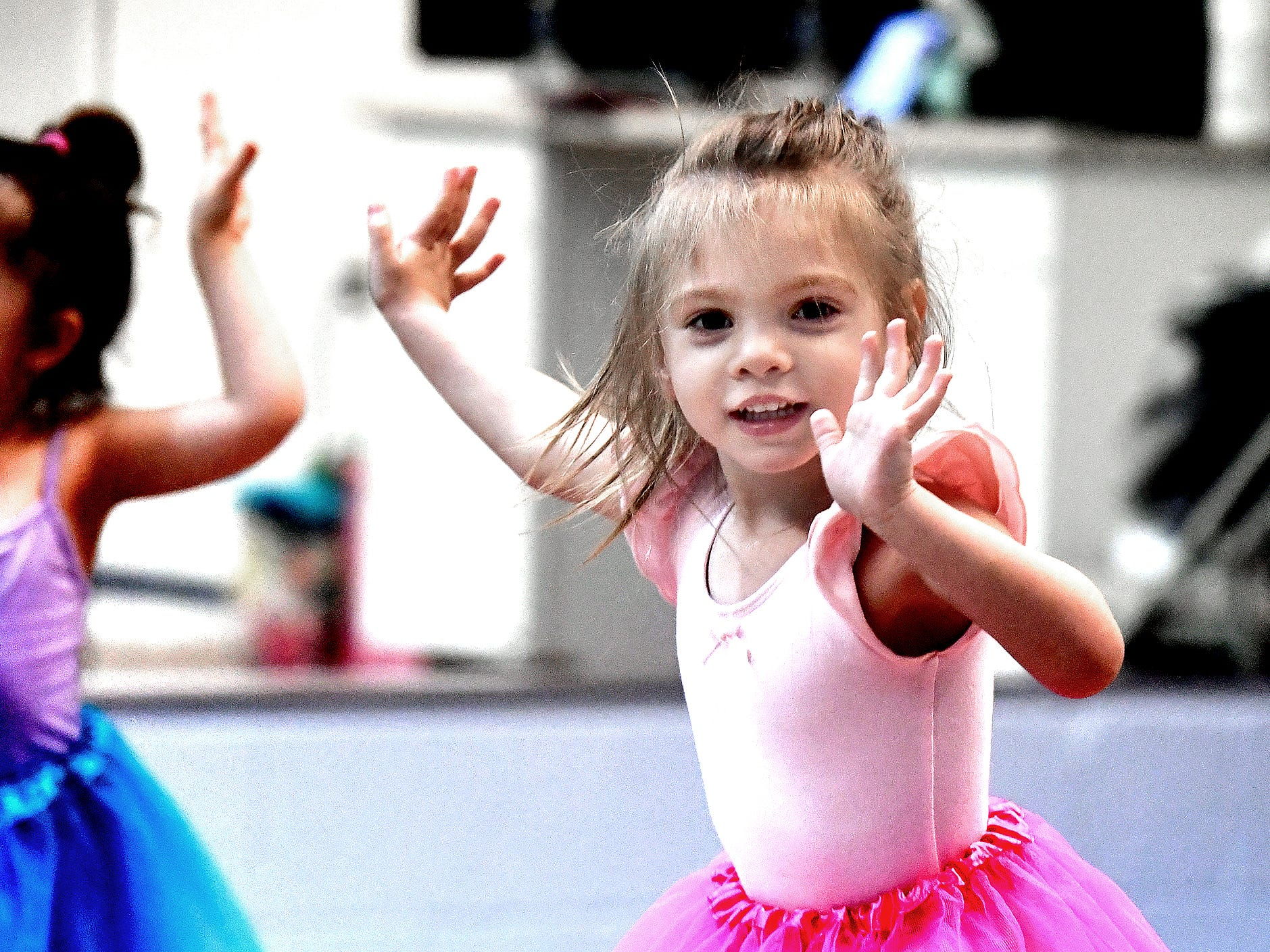 Aundrea Baughman, 3, of Dallastown, dances during the Twinkle Babies class at Greater York Dance Thursday, April 4, 2019. The four-week program, for children aged 2 to 4, is part of the Twinkle Star Dance Program for early childhood dancers. Bill Kalina photo