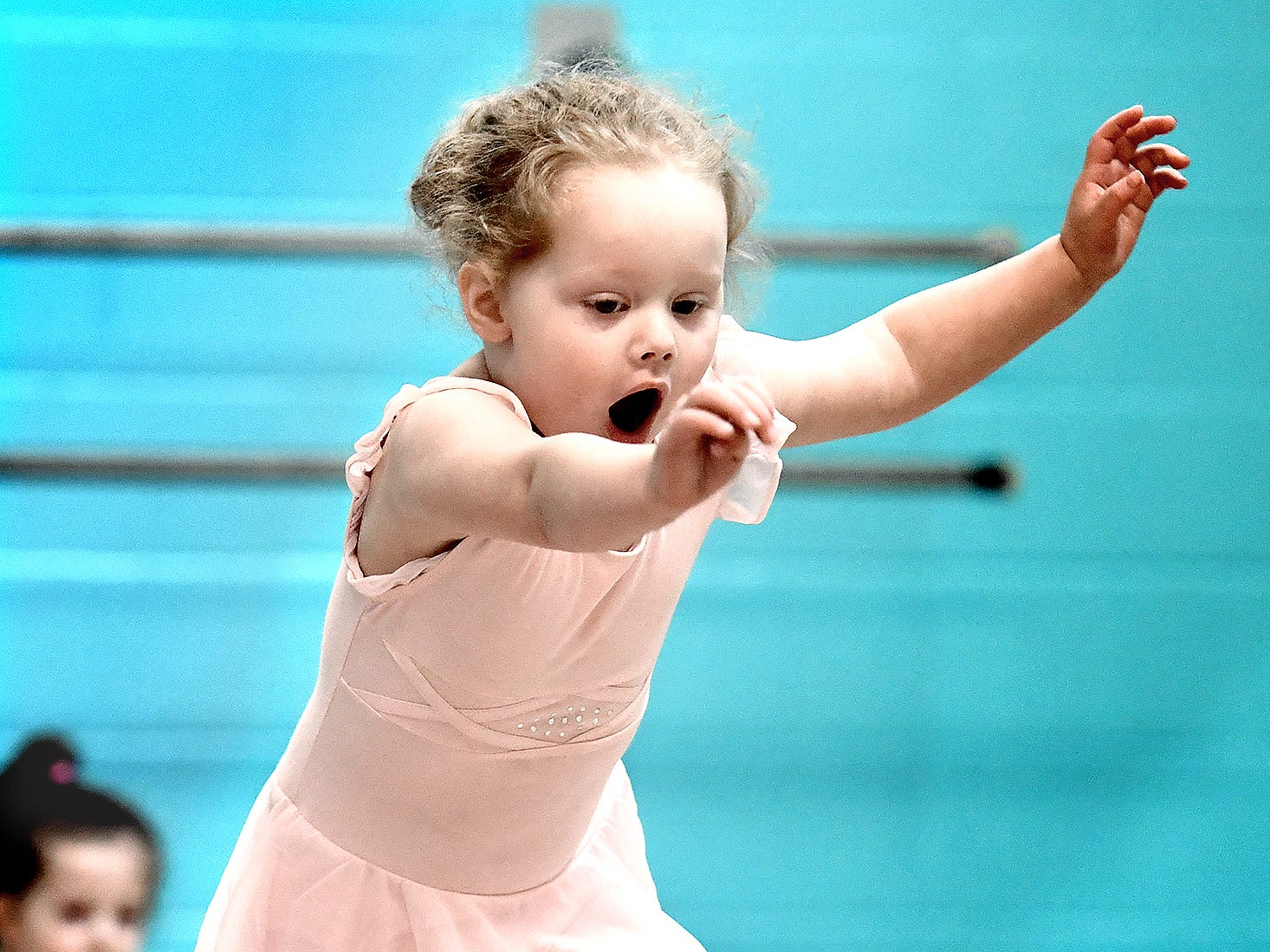 Miah Zangara, 2, of New Salem, makes a jump during the Twinkle Babies class at Greater York Dance Thursday, April 4, 2019. The four-week program, for children aged 2 to 4, is part of the Twinkle Star Dance Program for early childhood dancers. Bill Kalina photo