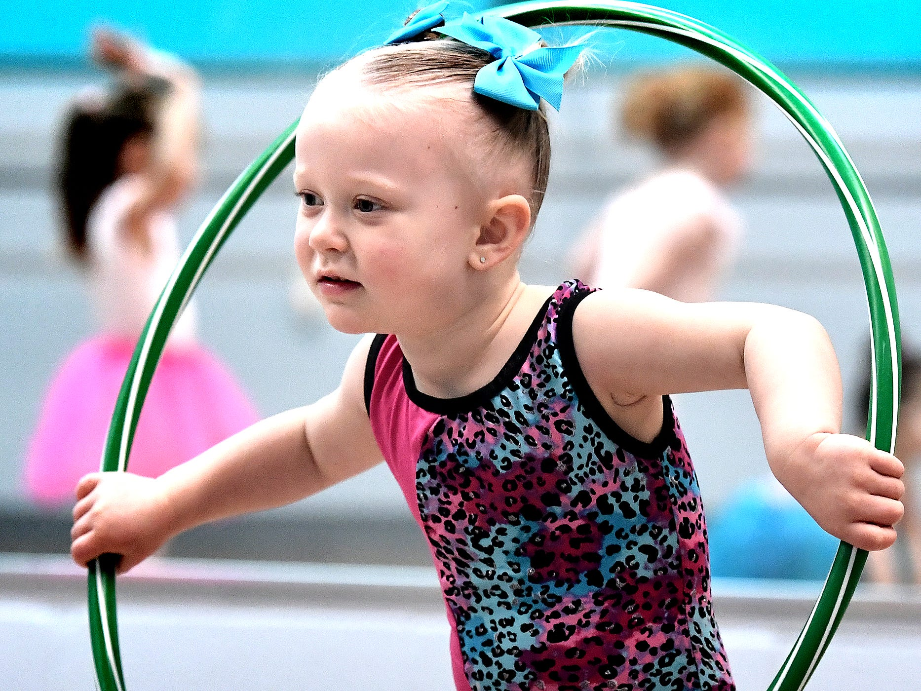 Alaina Byrne, 2, of West York, dances with a hula hoop during the Twinkle Babies class at Greater York Dance Thursday, April 4, 2019. The four-week program, for children aged 2 to 4, is part of the Twinkle Star Dance Program for early childhood dancers. Bill Kalina photo