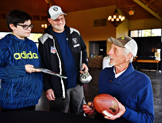 """Pro Football Hall of Fame punter Ray Guy talks to fans during the 2019 York Area Sports Night program. The Sports Night program has been put on """"pause"""" while organizers determine their future plans. Dawn J. Sagert photo"""