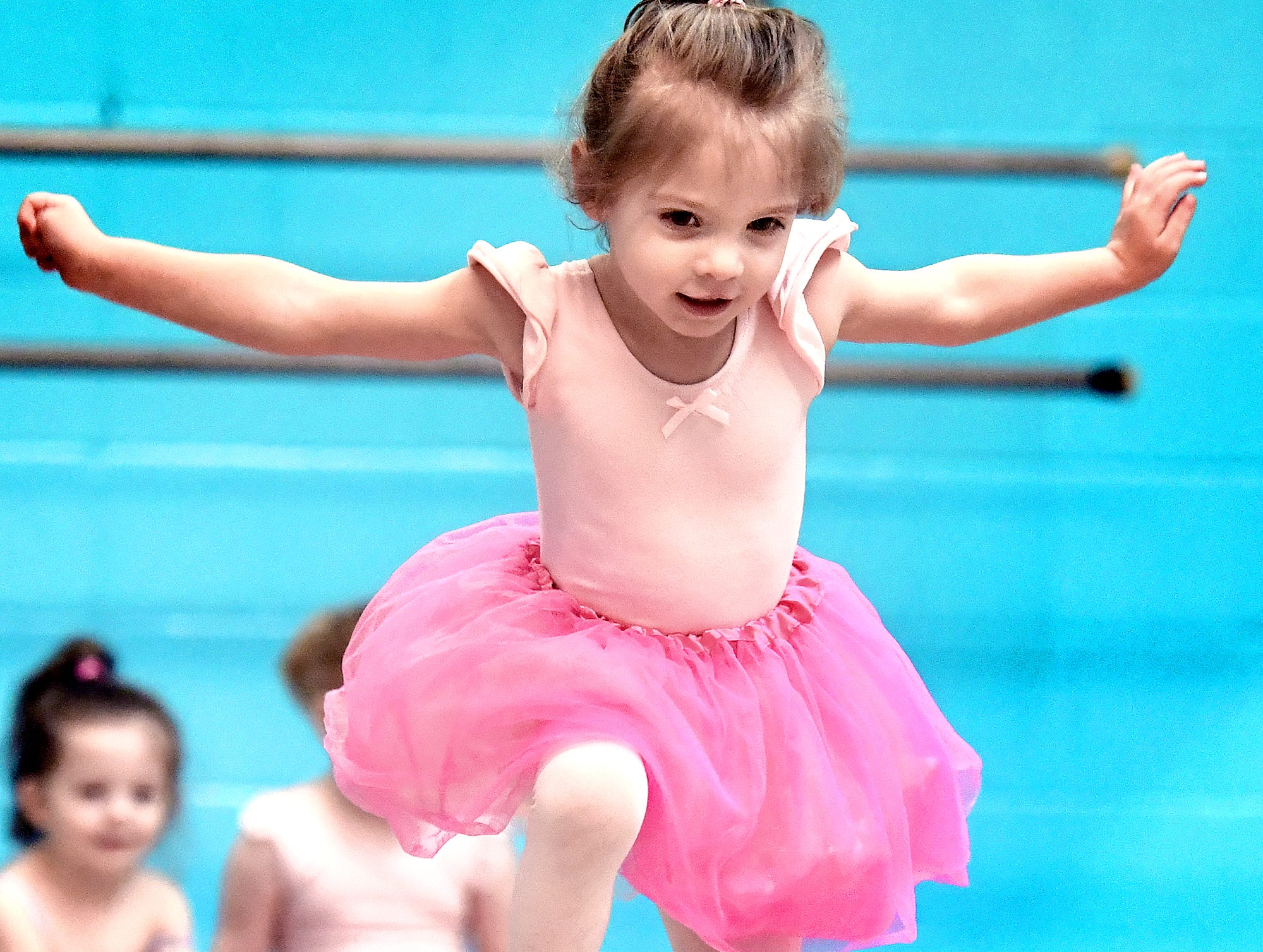 Aundrea Baughman, 3, of Dallastown, makes a jump during the Twinkle Babies class at Greater York Dance Thursday, April 4, 2019. The four-week program, for children aged 2 to 4, is part of the Twinkle Star Dance Program for early childhood dancers. Bill Kalina photo