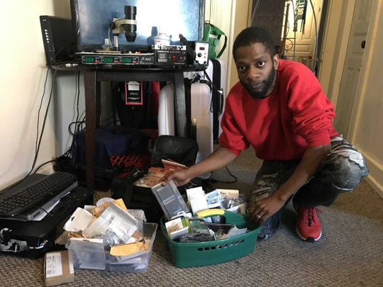 Victor Beaman now works on electronics in the living room of his West Market Street home. He's looking to establish a shop.