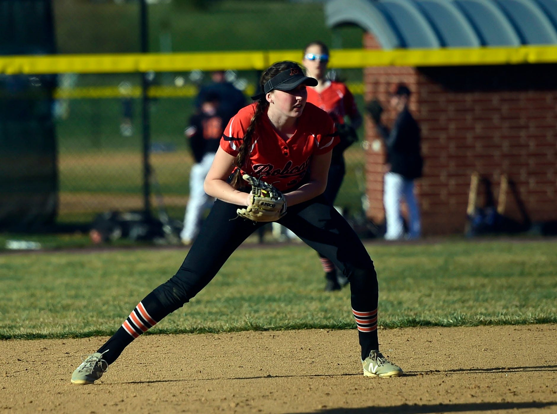 Northeastern shortstop Haley Updegraff fields a ball at shortstop Wednesday, April 3, 2019 at Spring Grove. The YAIAA Division II Player of the Year at catcher last season, the NCAA Division I recruit has moved to shortstop this season. She homered and went 3-for-5 with four runs scored.