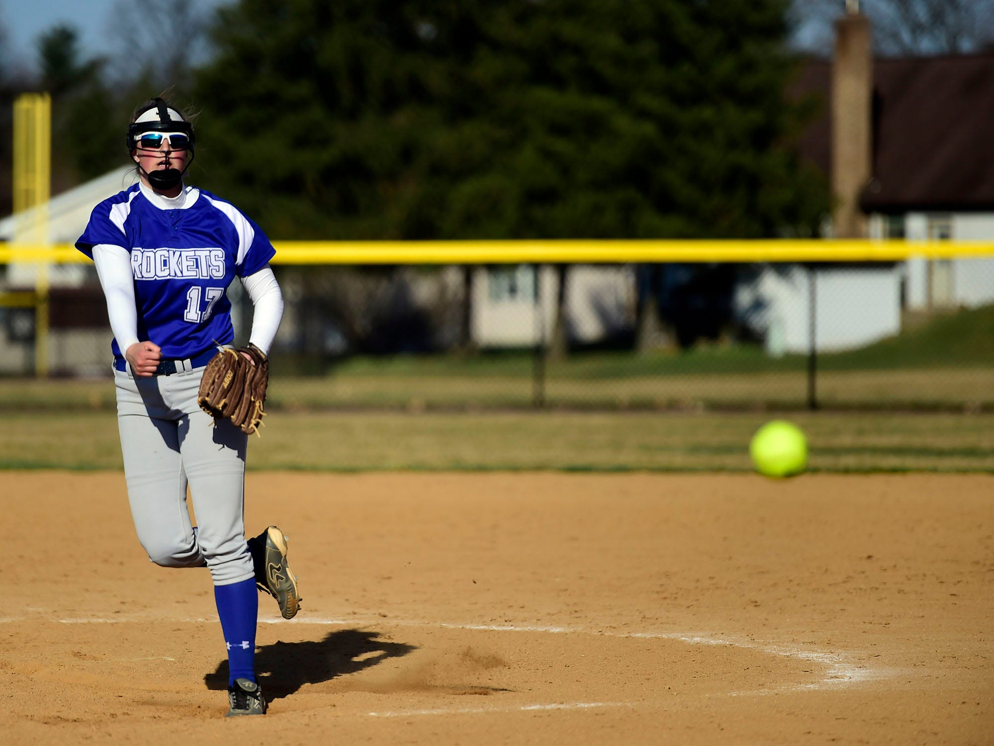 Spring Grove starting pitcher Hailey Kessinger delivers to the plate against Northeastern on Wednesday, April 3, 2019. Kessinger earned the win, striking out nine and walking one.