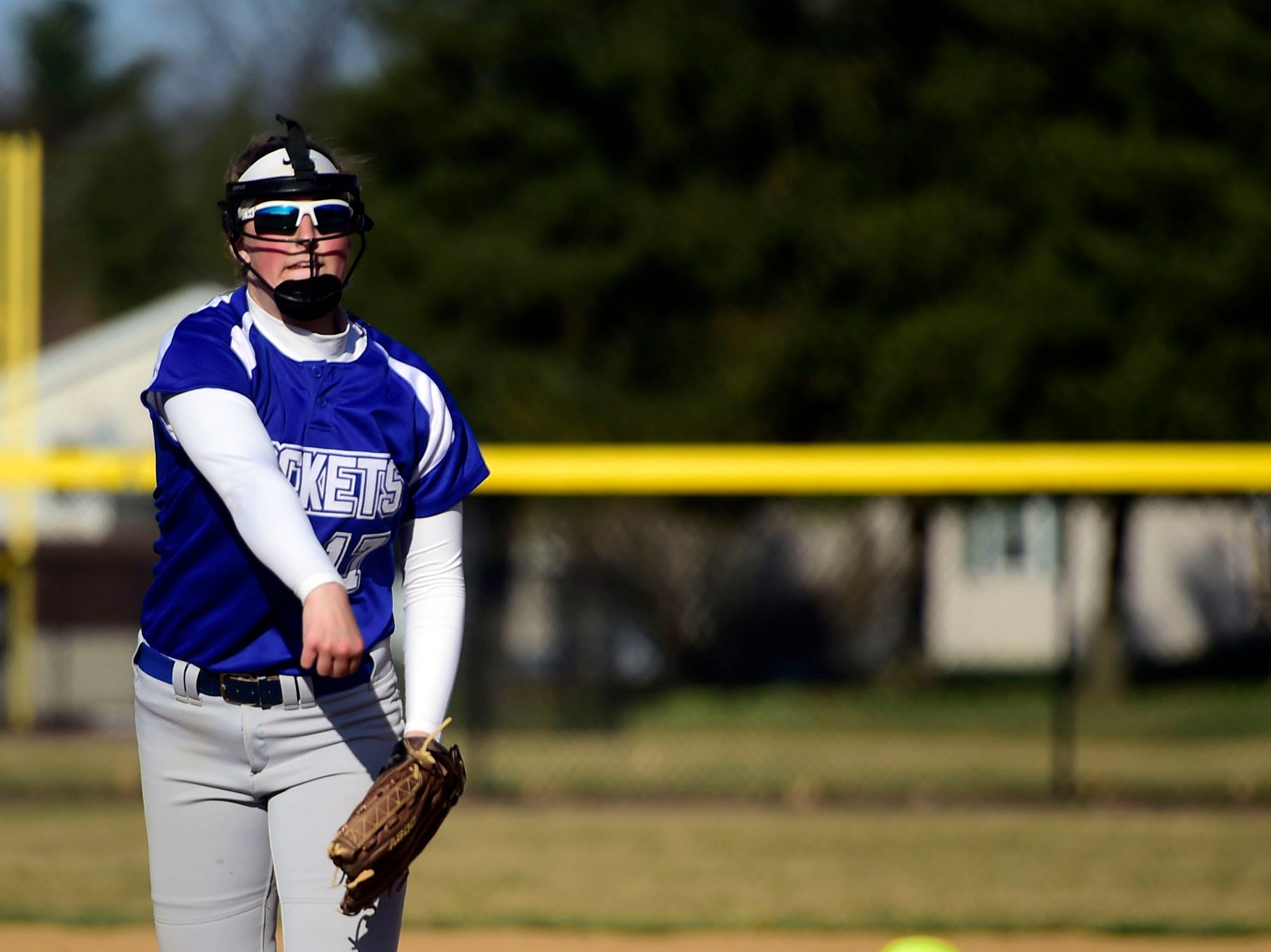 Spring Grove starting pitcher Hailey Kessinger delivers to the plate Wednesday, April 3, 2019.