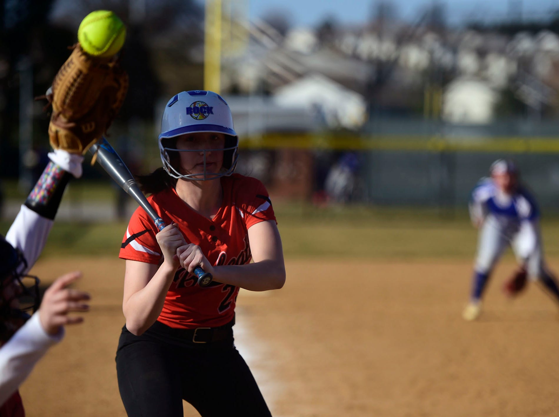 Northeastern's Belle Bortner watches a pitch sail out of the strike zone. Bortner went 1-for-4 with a double in Spring Grove's 19-14 win against Northeastern Wednesday, April 3, 2019.