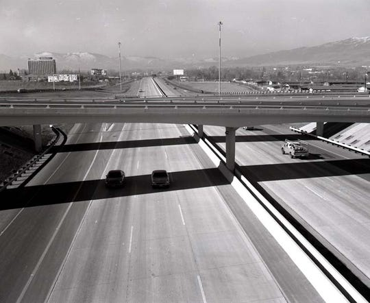 Interstate 80  and the recently completed Reno Spaghetti Bowl in 1972.