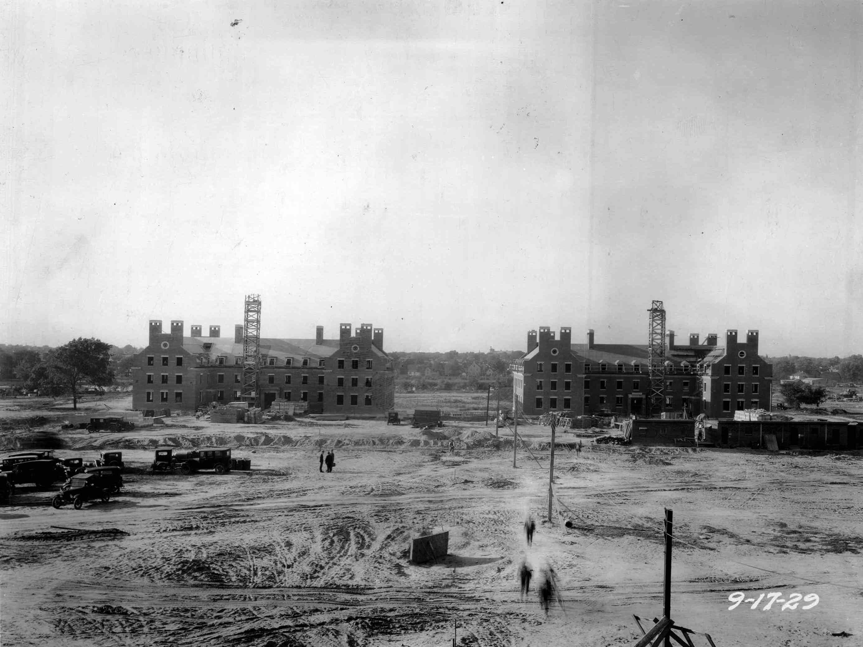 University of Rochester River Campus during construction of dormitories A & B in  1929.