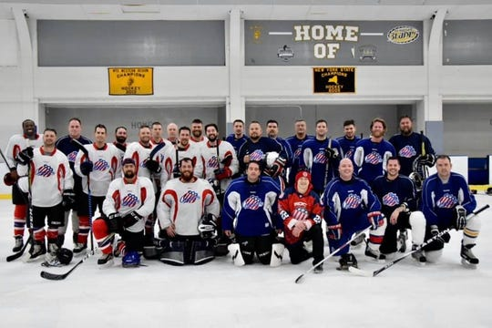 """It's White vs. Blue but members of ROC Warriors program for military vets bleed red, white and blue. """"This is therapy for me,'' said member Nick Hart. """"When I found out about the team in July, I said, 'Are you kidding? This is exactly what I've been looking for.' It's been such a perfect fit for me.''"""