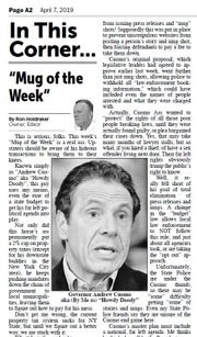 "The April 7, 2019 edition of the Times of Wayne County features Gov. Cuomo as the ""Mug of the Week."""