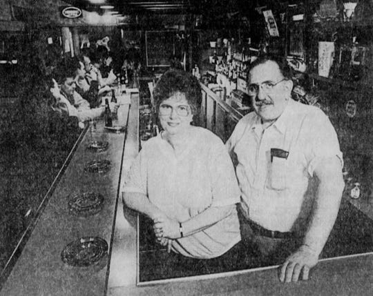 March 1987: Carol and Tony Infantino pictured at The Pillars restaurant/bar.