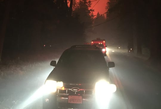 Hundreds of vehicles crowded onto the streets of Paradise as residents fled from the Camp Fire in November.