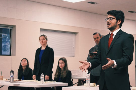 Members of the Shasta High School mock trial team compete for the 2019 state championship. Left to right: Alyssa Torres, Shaina Dickie, Ava Arsenault and Ravi Patel.