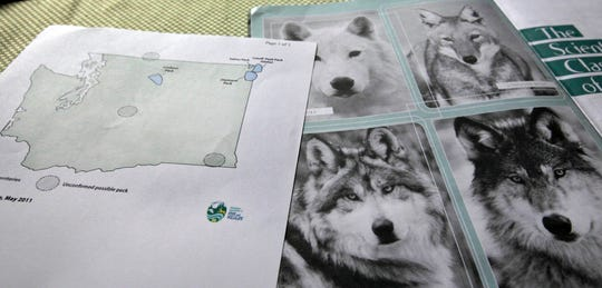 This June 18, 2011 file photo shows a map of confirmed and possible wolf packs in Washington state next to a magazine about wolves.