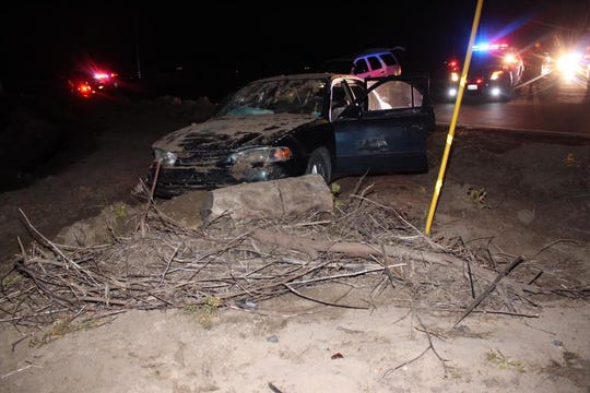 The scene of the crash after Thursday's high-speed pursuit through Salinas.