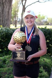 Garden City's Logan Wood won the girls medalist title at the 2019 District 8-1A Golf Tournament Tuesday, April 2, in Midland.