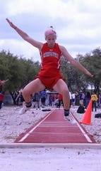 Christoval High School's Allison Vaughn won the girls triple jump Wednesday, April 3, 2019, at the District 7-2A Track and Field Meet in Christoval.